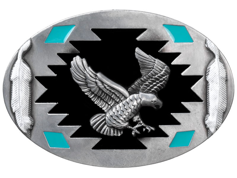 Belt Buckle - Eagle on Southwestern Design with White Feathers
