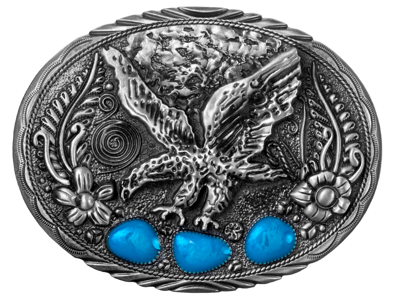 Belt Buckle - Flying Eagle with Blue Enamel Accents