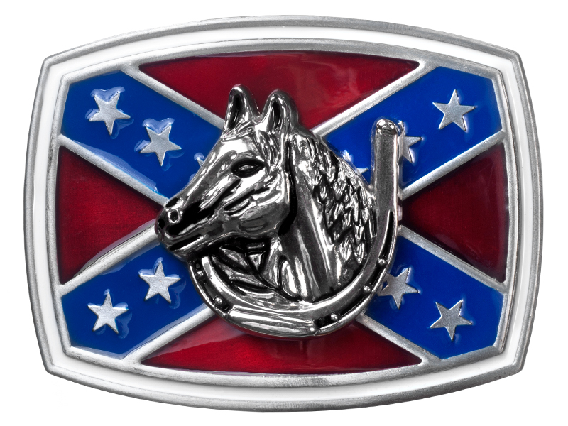 Belt Buckle - Horse Head in Horseshoe on Rebel Flag