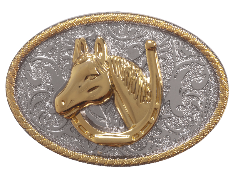 Belt Buckle - Golden Horse Head in Horseshoe on Silver