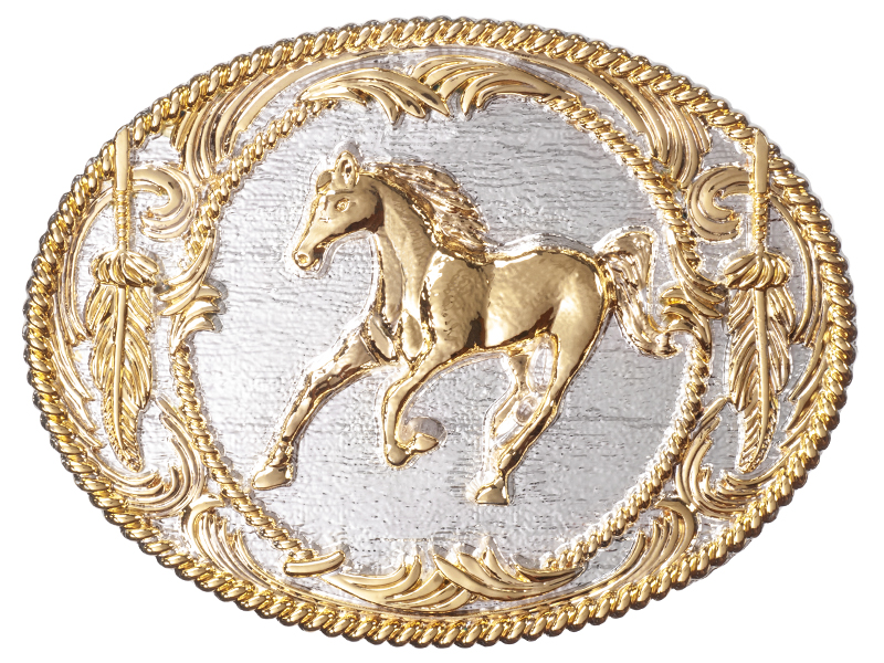 Belt Buckle - Golden Galloping Horse