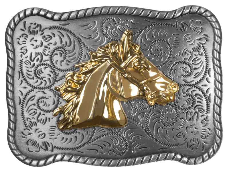 Belt Buckle - Golden Horse Head
