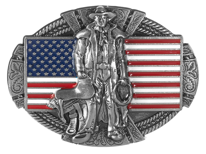 Belt Buckle - Rancher on American Flag
