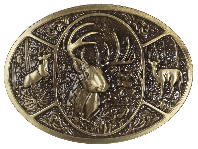 Belt Buckle - Buck Head with Deer