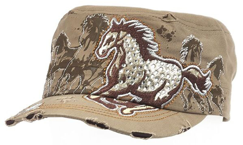 Vintage Cap - Running Horse - Rhinestones - adjustable - Khaki z *WILL BE DISCONTINUED