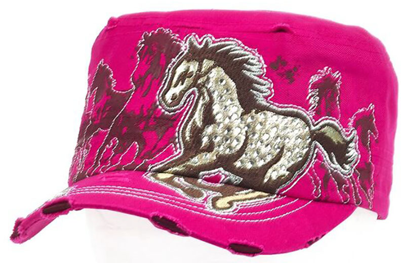 New - Vintage Cap - Running Horse - Rhinestones - adjustable - PInk