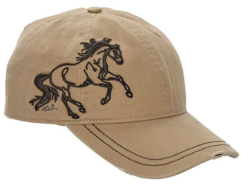 Vintage Cap - Running Horse - - adjustable - Tan