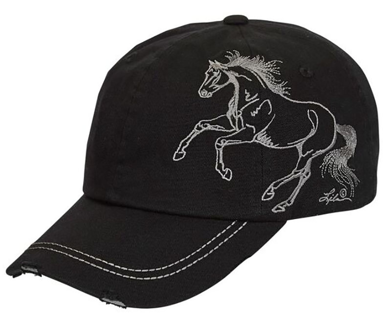 Vintage Cap - Horse - - adjustable - Black