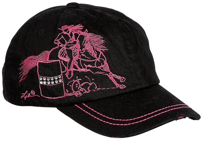 Vintage Cap - Barrel Racer- Rhinestuds- - adjustable - Black
