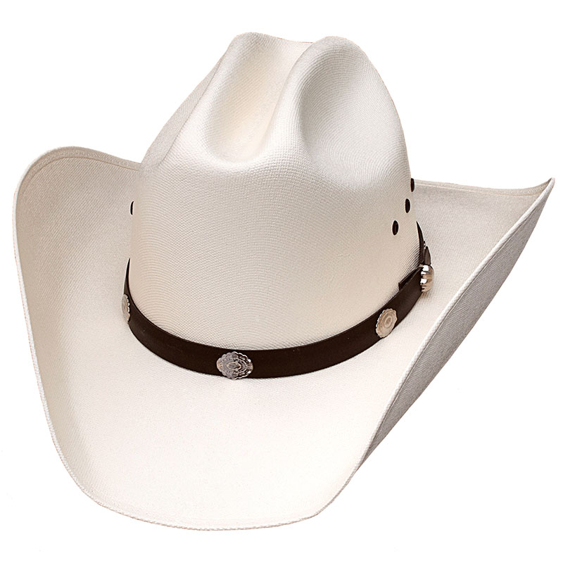 Cattle Straw Hat,  Silver Conchos *Elastic Band