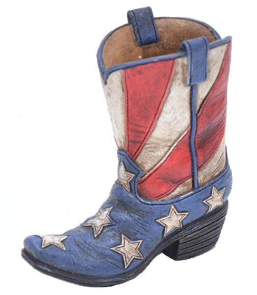 "Boot Pencil Holder - USA Flag- 4-1/2"" x 4"""