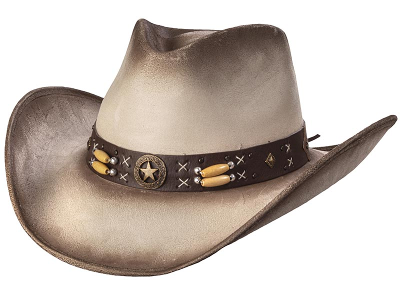 Suede Like Hat - Star Concho - Beige & Buff