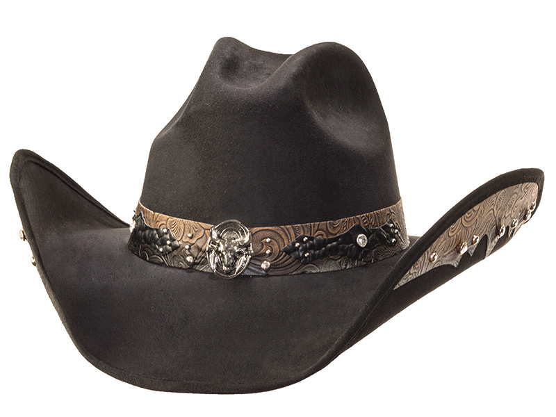 Suede Like Hat - Steer Skull Concho - Black