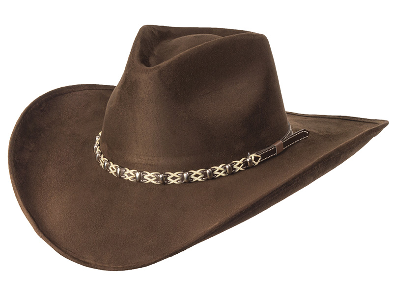 Suede Like Hat - Roped Band - Brown