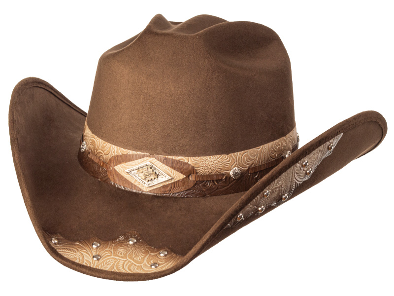 Suede Like Hat - Tooled Band - Brown & Fawn