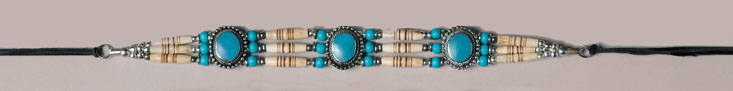 Genuine Bone Choker Necklace or  Hatband Turquoise