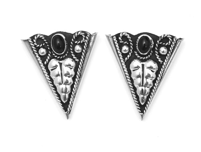 German Silver and Onyx Collar Tips