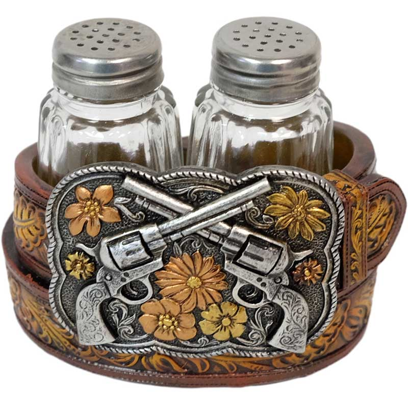 Salt & Pepper Holder - Crossed Pistols Buckle *WILL BE DISCONTINUED