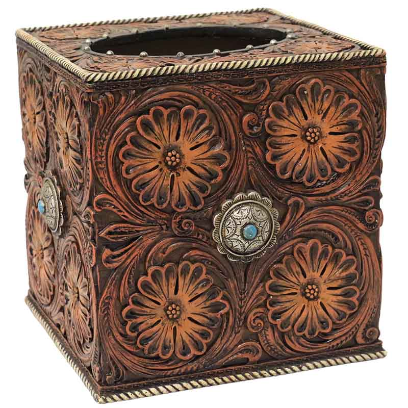 Tissue Box Cover - Tooled Flowers & Conchos