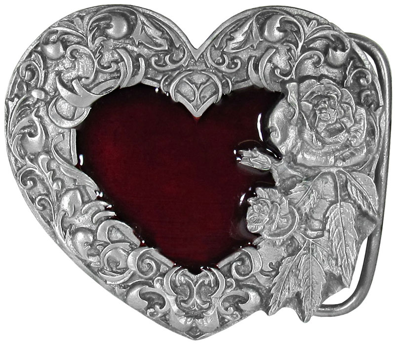 Red Enameled Heart Buckle 2 1/2 x 2 1/4 Made in USA