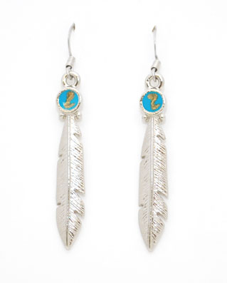 Closeout Feather with Turquoise Earrings  Made in  USA  d