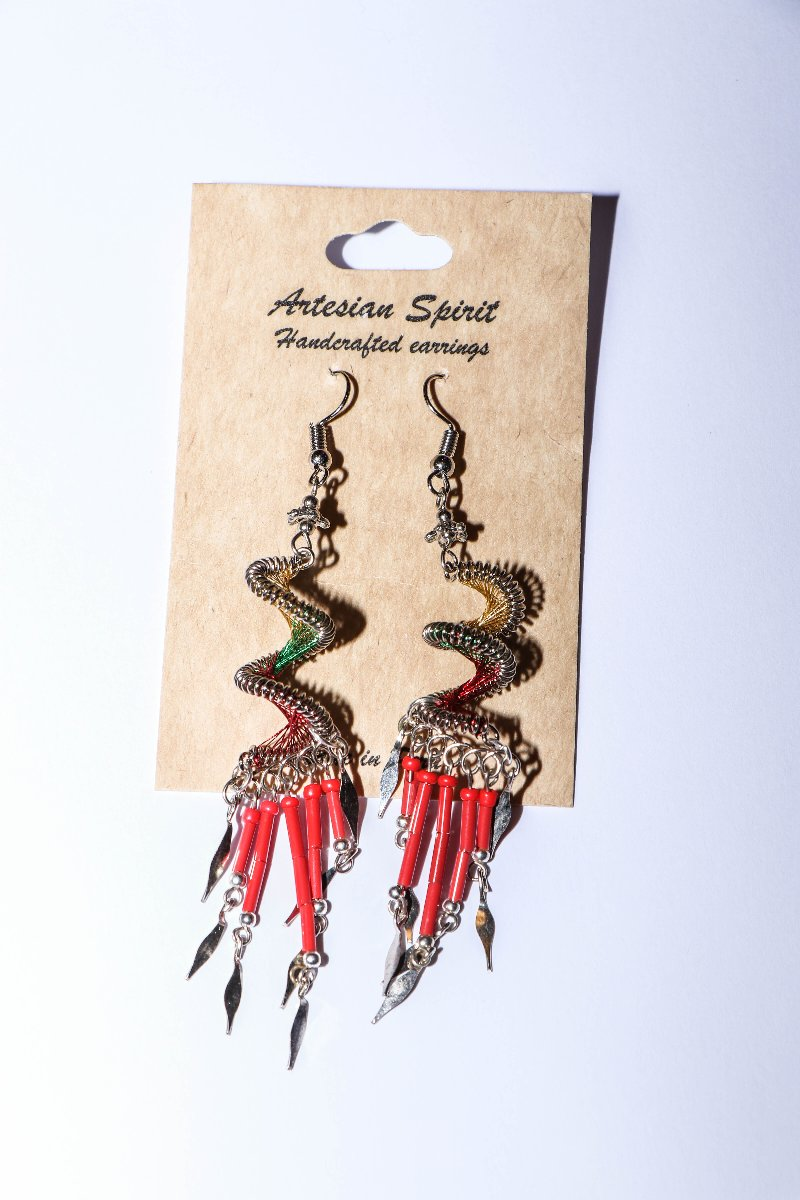 Handmade Threaded Earrings with Dangles  Red