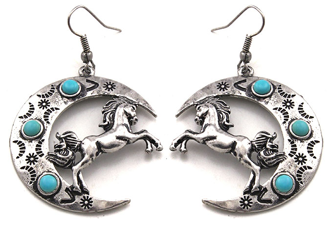 Earrings -Horses in Crescent, Turq
