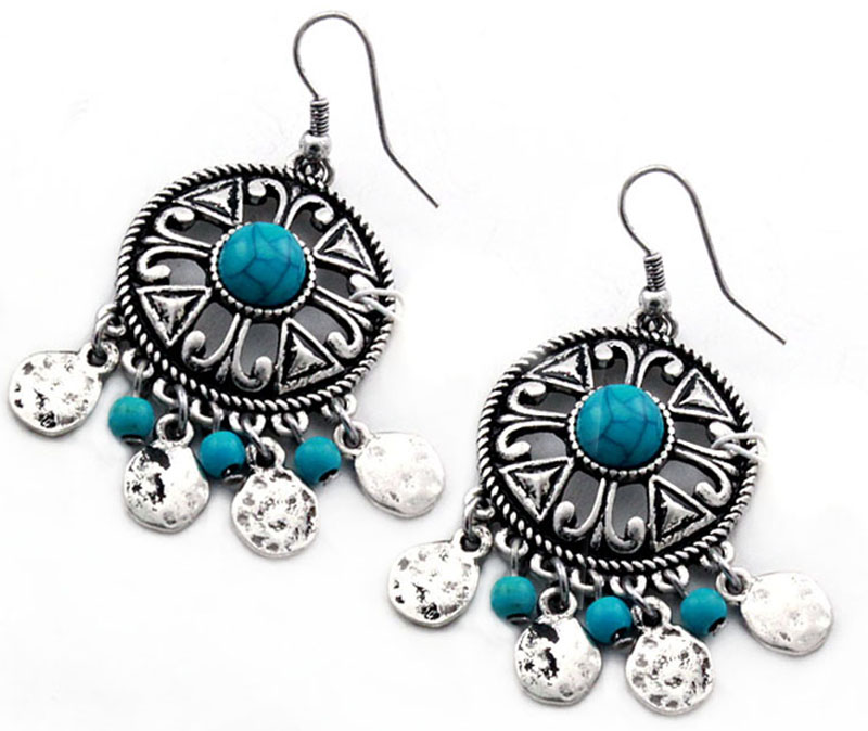 25% OFF - Closeout Earrings - Concho w/turquoise dangles d