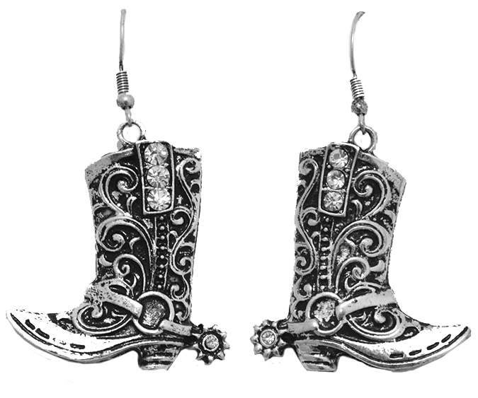 25% OFF - Closeout - Silver Boot Earrings with Rhinestones  d  **see bs