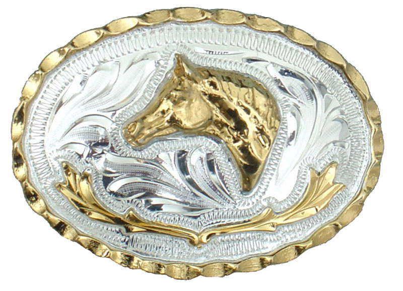 Small Horsehead German Silver Belt Buckle 2-3/4 x 2