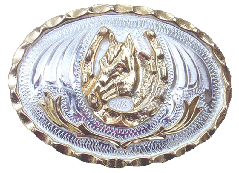 Small Horsehead in Horseshoe German Silver Buckle