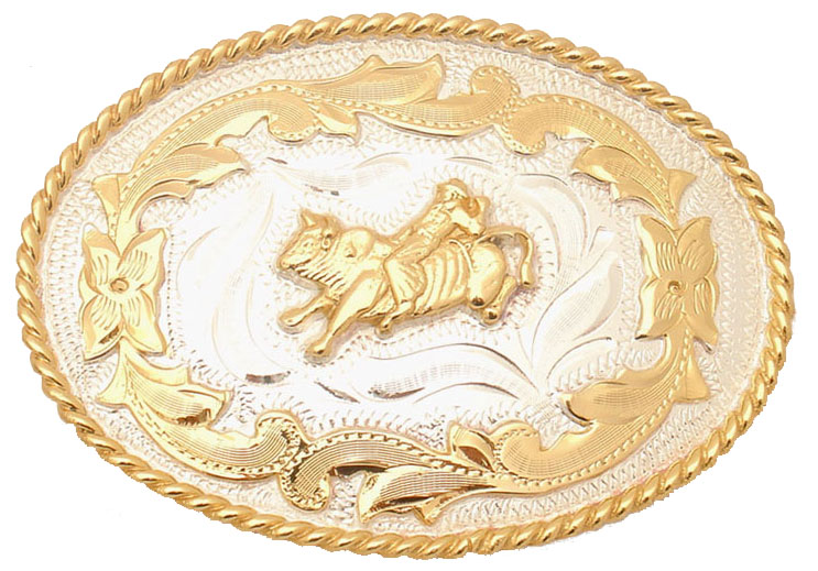 Bull Rider German Silver Belt Buckle with Scroll Pattern