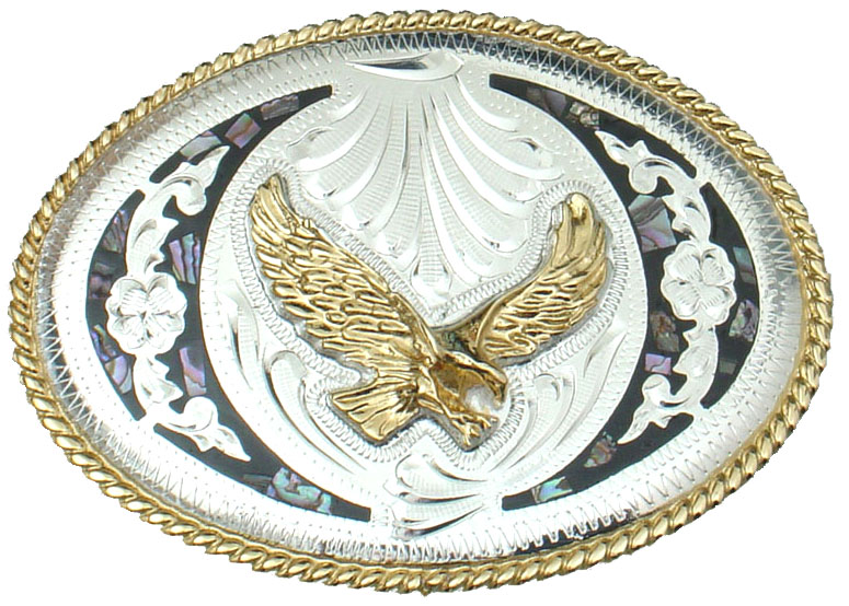 Abalone and German Silver Eagle Belt Buckle 4 x 3