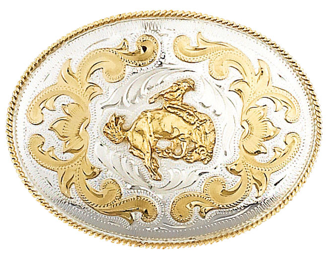 German Silver Bucking Bronco Belt Buckle 5 x 3-3/4