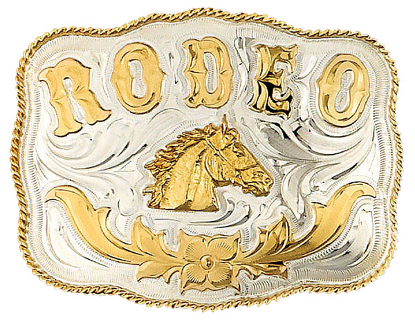 German Silver Rodeo Horsehead Belt Buckle 5-1/4 x 4