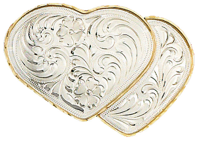 German Silver Double Heart Belt Buckle 4 x 2-1/2