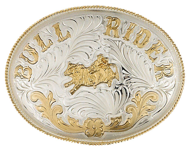 Extra Large German Silver Bullrider Belt Buckle 6-1/2x5