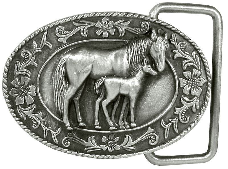 Small Mare And Colt Belt Buckle Blue Enamel 2-1/4 x 1-1/2  nic