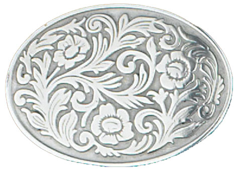 Western Oval Floral Belt Buckle 3-1/2 x 2-1/2