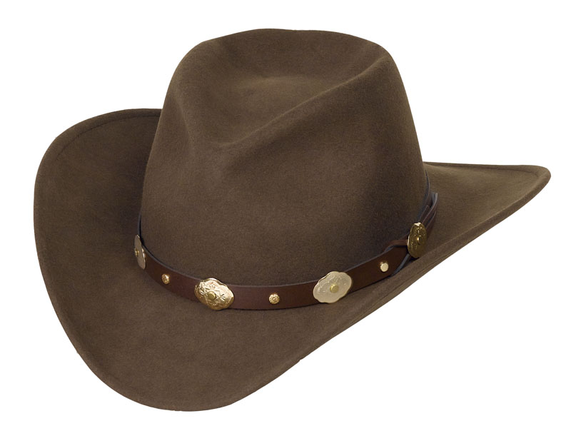 AVAILABLE SOON Wool Felt Crushable Hat/Brown w/gold conchos