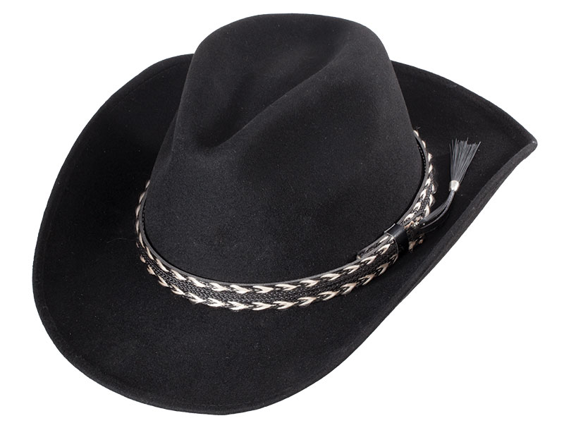 New -  Pinch Front Black Wool Felt Hat Braided Band