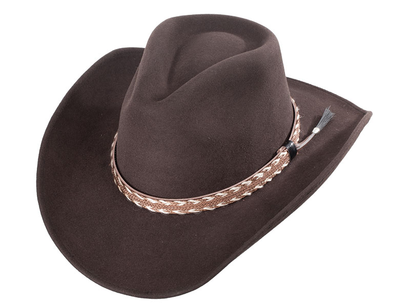 New - Pinch Front Brown Wool Felt Hat Braided Band