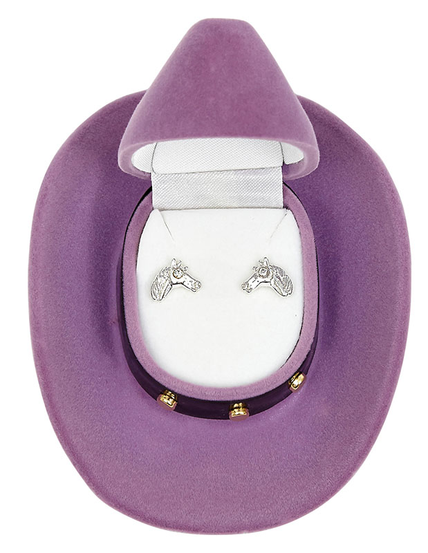 New - Horse Head Earrings  -  Cowboy Hat Gift Box