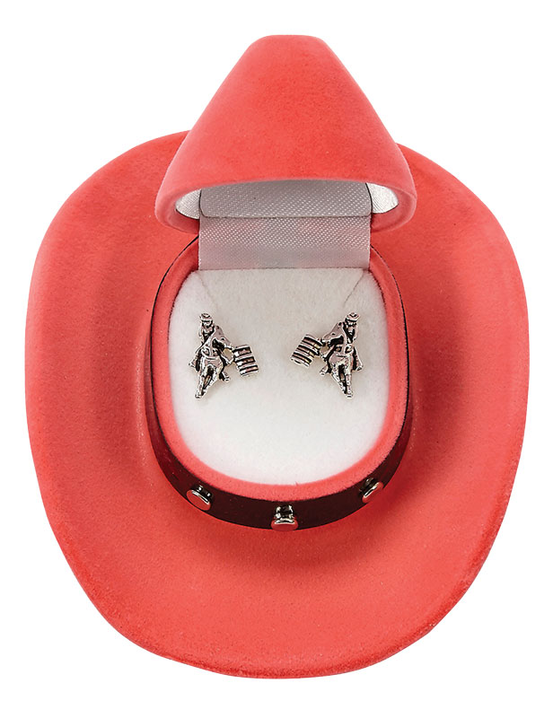 New - Barrel Racer Earrings  - Cowboy Hat Gift Box