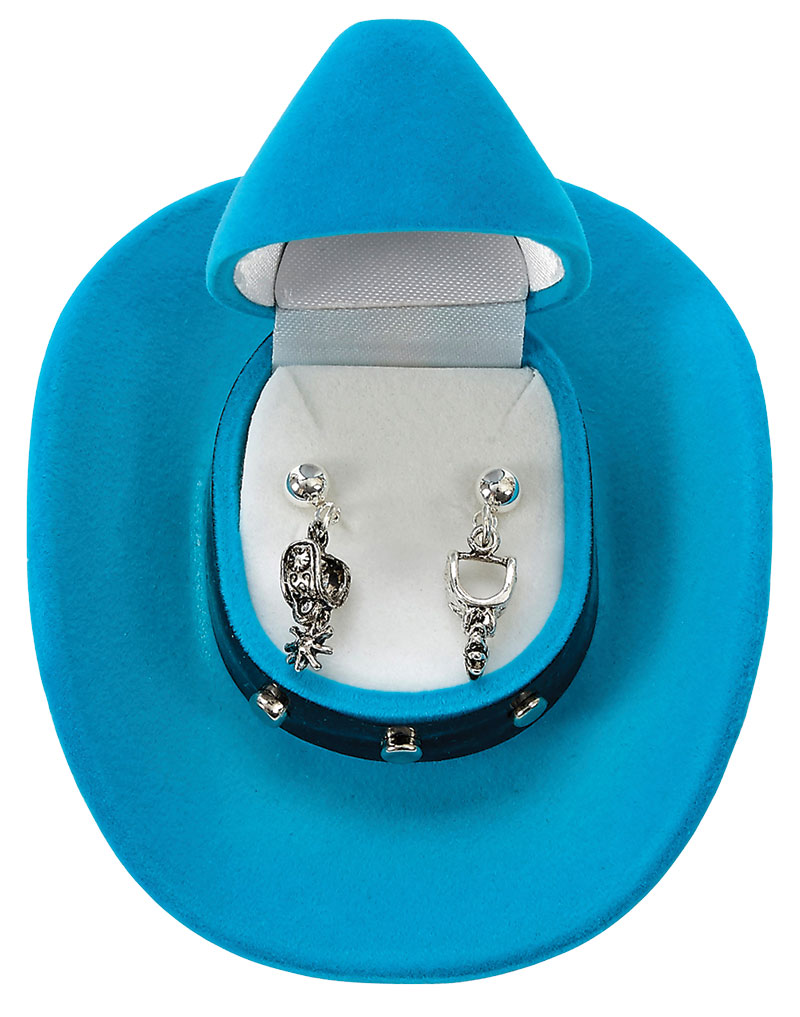 New -Western Spur Earrings  -  Cowboy Hat Gift Box