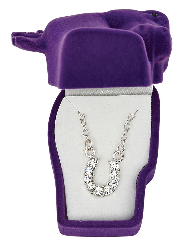 Clear Rhinestone Horseshoe Necklace - Asst. Horsehead Gift Box