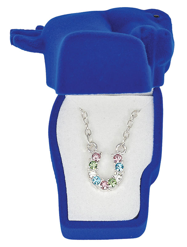 Multi-color  Rhinestone Horseshoe Necklace - Asst. Horsehead Gift Box