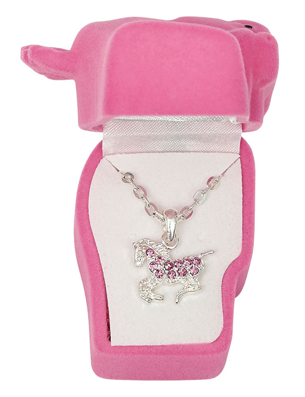 Pink Rhinestone Pony  Necklace -  Horsehead Gift Box