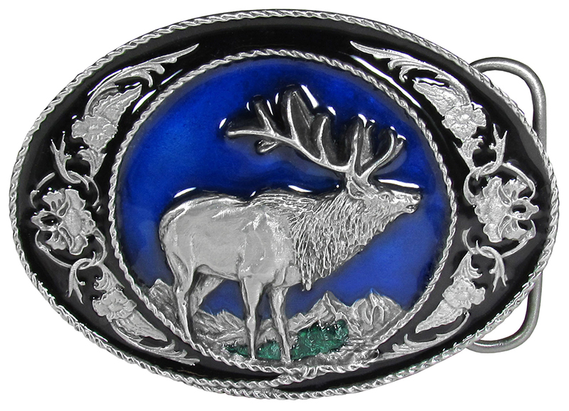"Elk Enameled Belt Buckle 3-1/2"" x 2-1/2"" Made in USA wo"