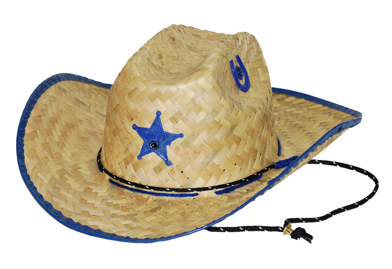 Palm Straw Hat/Sheriff/Blue